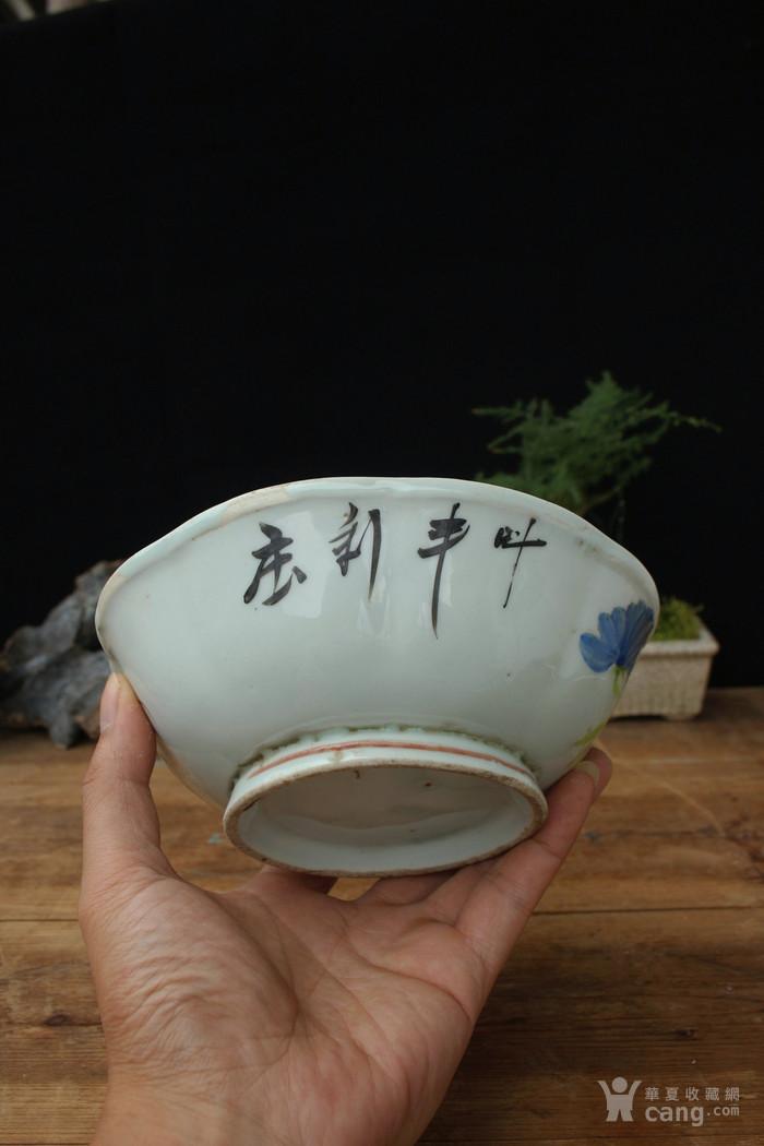 晚清民国粉彩菊花纹花口碗图3