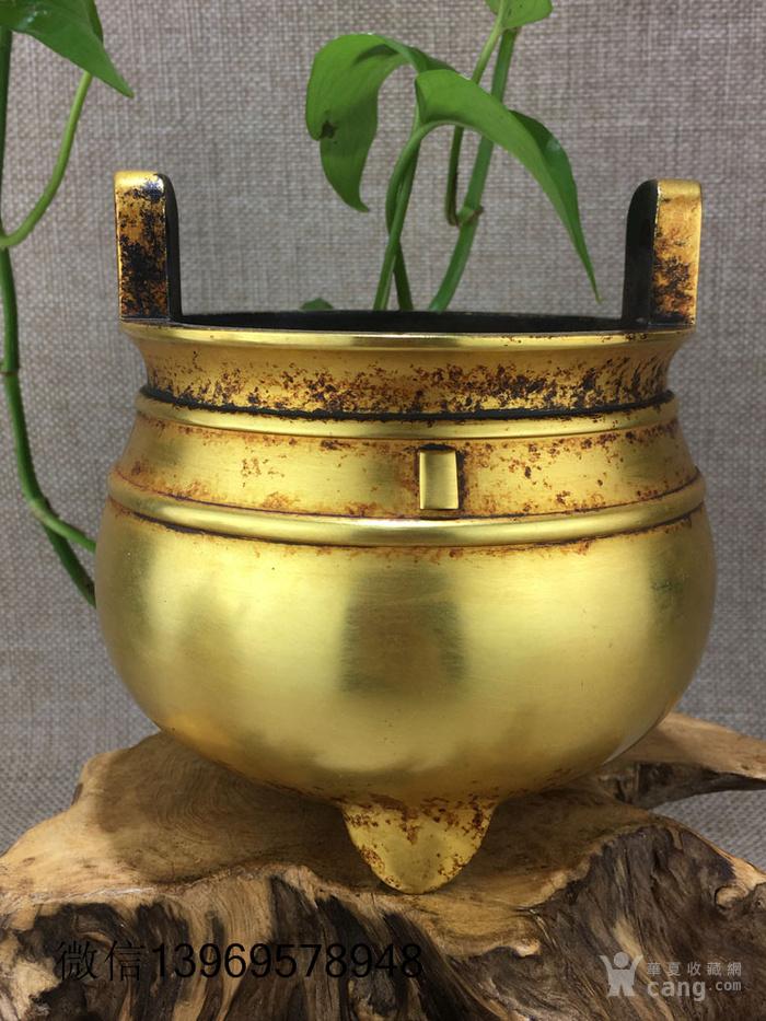 清代紫铜摆件全鎏金铜香炉图1