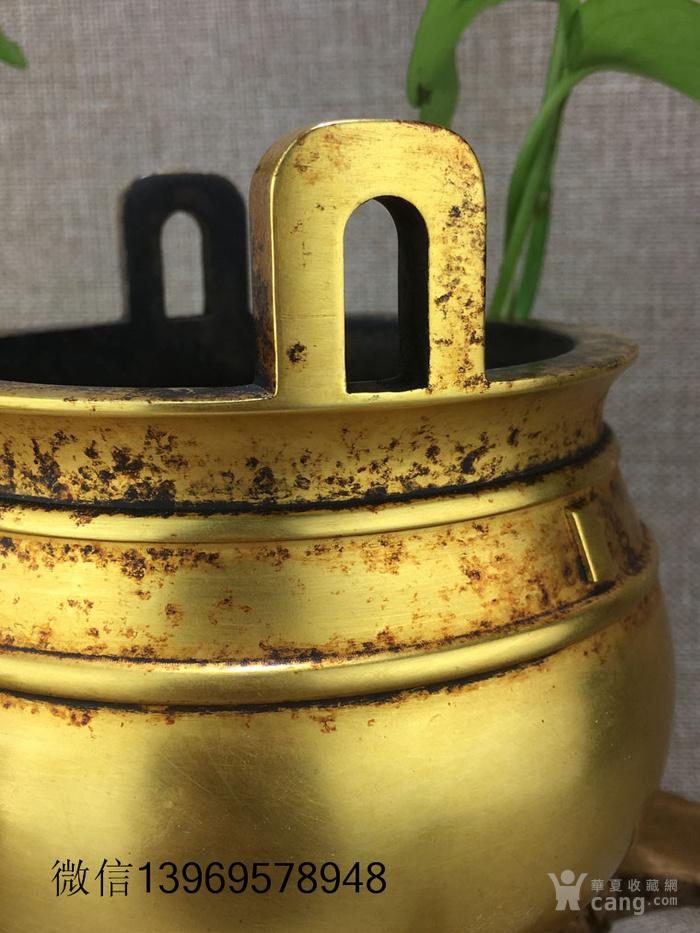 清代紫铜摆件全鎏金铜香炉图4
