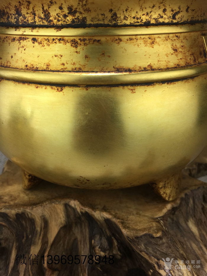 清代紫铜摆件全鎏金铜香炉图5