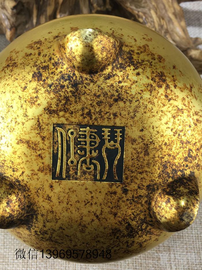 清代紫铜摆件全鎏金铜香炉图9