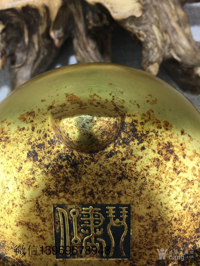 清代紫铜摆件全鎏金铜香炉图10
