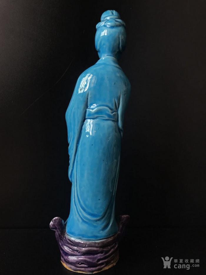 孔雀蓝釉仕女瓷塑图4
