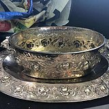 19世纪意大利贵族用纯银大果盆 重量4公斤