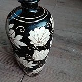 磁州窑黑釉花卉梅瓶一对