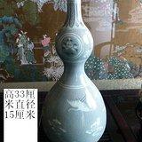 明代青瓷仙鹤纹葫芦瓶
