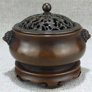 清代紫铜三体铜香炉一件