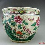 清代 哥釉 粉彩 花开富贵纹缸