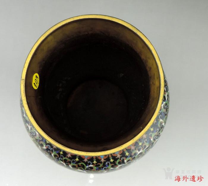 清代 天利款紫铜胎珐琅缠枝莲纹尊 高32厘米图3