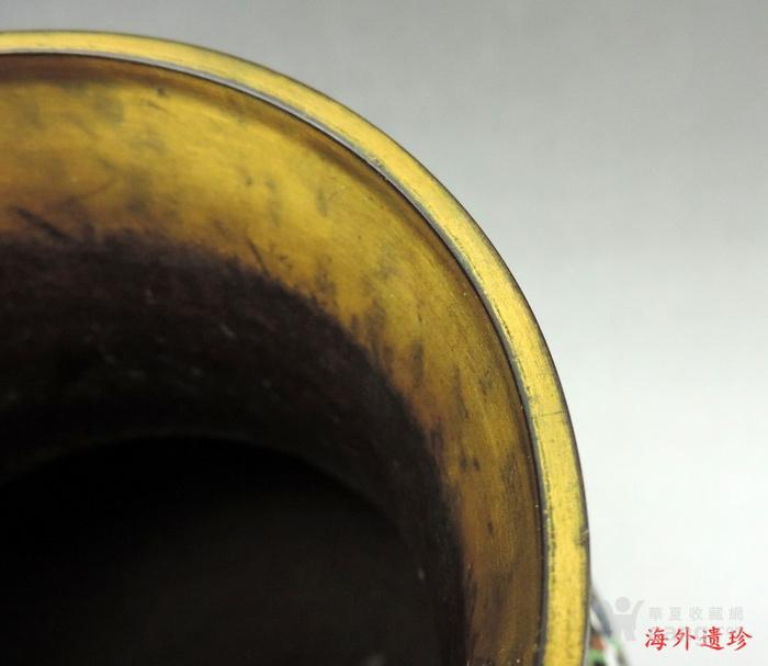 清代 天利款紫铜胎珐琅缠枝莲纹尊 高32厘米图5