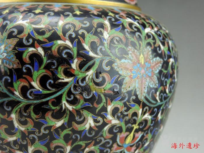 清代 天利款紫铜胎珐琅缠枝莲纹尊 高32厘米图11