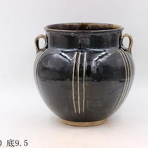 磁州窑黑釉线条罐