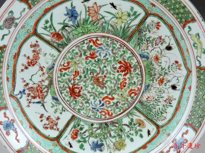 清代 康熙 五彩花卉纹双底大盘 树叶款 35厘米图2