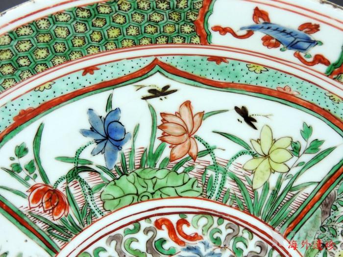 清代 康熙 五彩花卉纹双底大盘 树叶款 35厘米图4