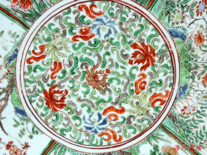 清代 康熙 五彩花卉纹双底大盘 树叶款 35厘米图3
