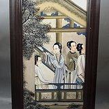 清粉彩四美图瓷板画