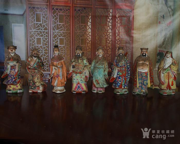 文革老厂瓷器 站八仙雕塑一套图2