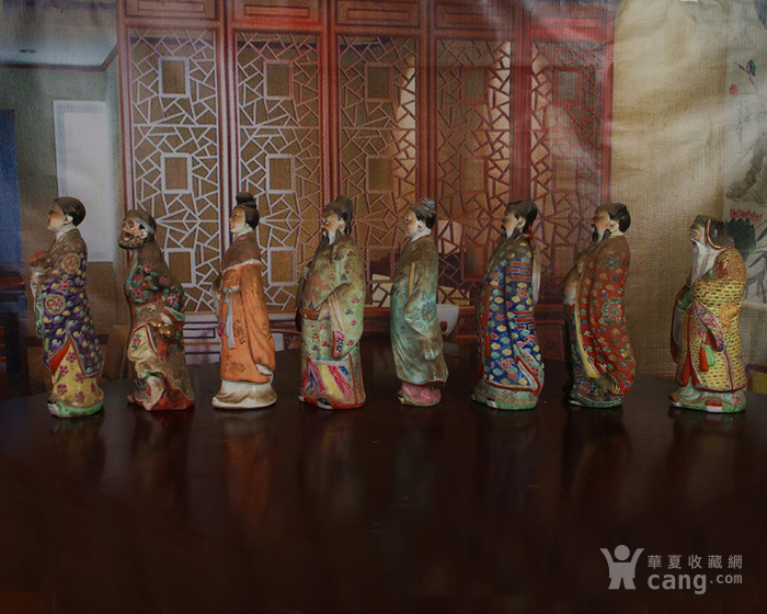 文革老厂瓷器 站八仙雕塑一套图3