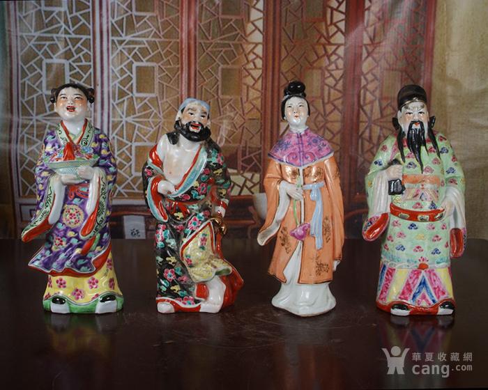 文革老厂瓷器 站八仙雕塑一套图6