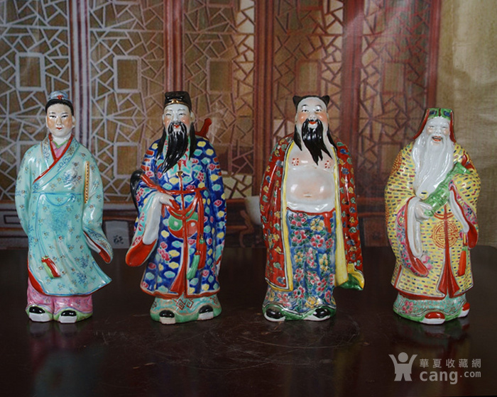 文革老厂瓷器 站八仙雕塑一套图8