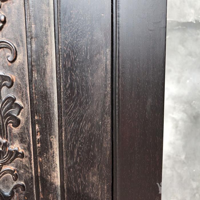 老紫檀家具清代紫檀雕刻花卉纹饰四 平柜的顶箱柜明清家具老家具图9