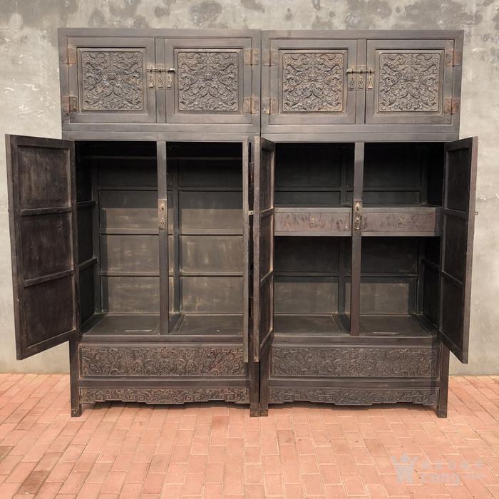 老紫檀家具清代紫檀雕刻花卉纹饰四 平柜的顶箱柜明清家具老家具图11