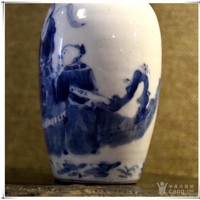 青花人物 柳叶瓶图片