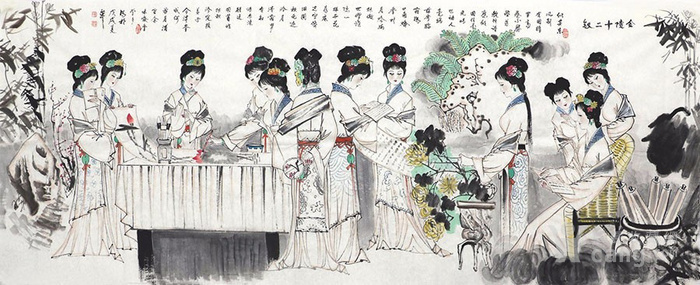 刘学多  183 小八尺国画人物 带合影 图2