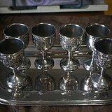 北美铜镀银葡萄雕酒杯一套