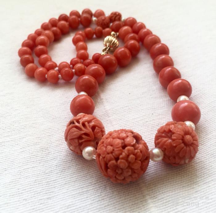14K金欧洲回流雕花大珠沙丁珊瑚红珊瑚akoy海水珍珠项链图1