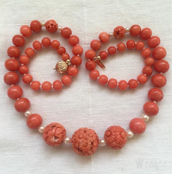 14K金欧洲回流雕花大珠沙丁珊瑚红珊瑚akoy海水珍珠项链图3