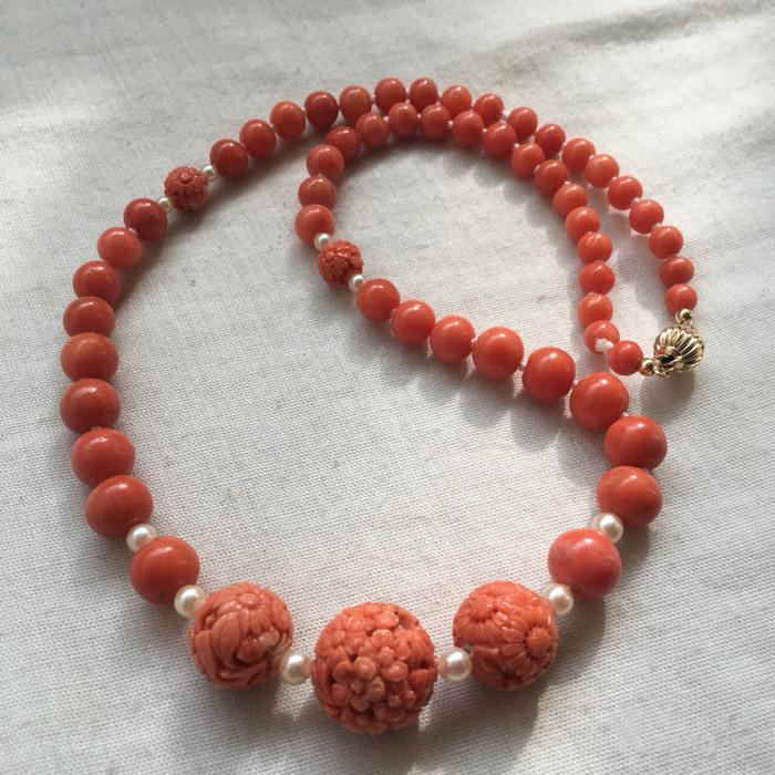 14K金欧洲回流雕花大珠沙丁珊瑚红珊瑚akoy海水珍珠项链图4