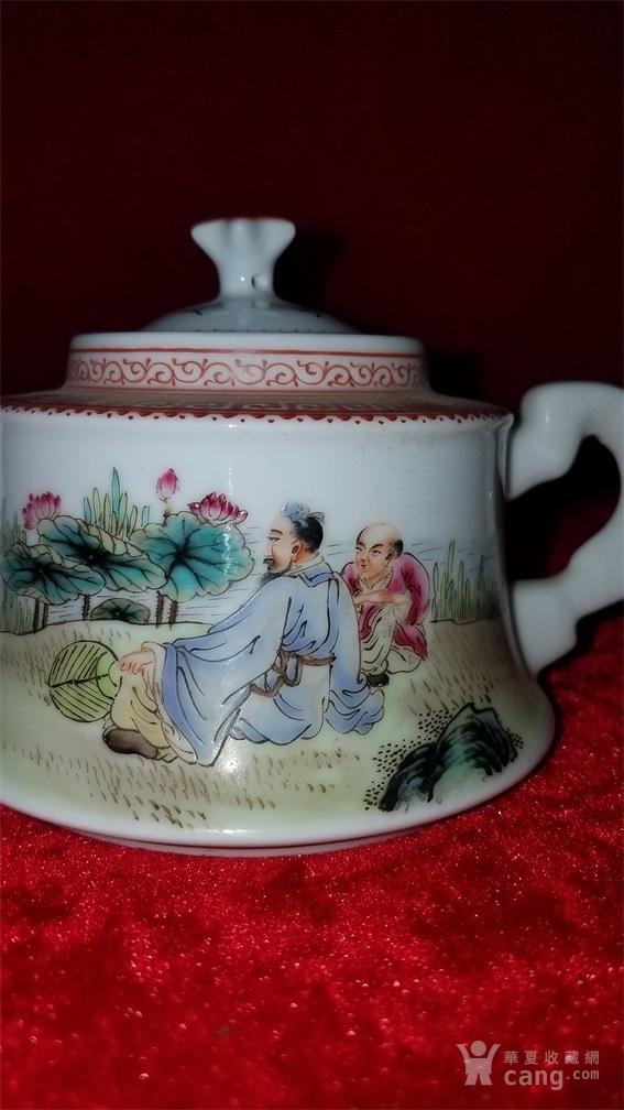 浅降彩茂叔观莲茶壶图2