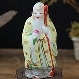 文革粉彩寿星塑像