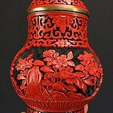 民国 铜胎剔红漆器 茶叶罐