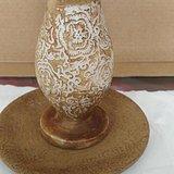 乾隆年制汉白玉花卉烛台和玉碟