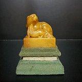 民国  寿山田黄白石款雕瑞犬印章