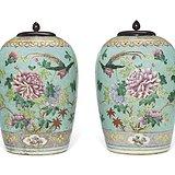 松石地 粉彩花鸟纹盖罐 一对  盖后配