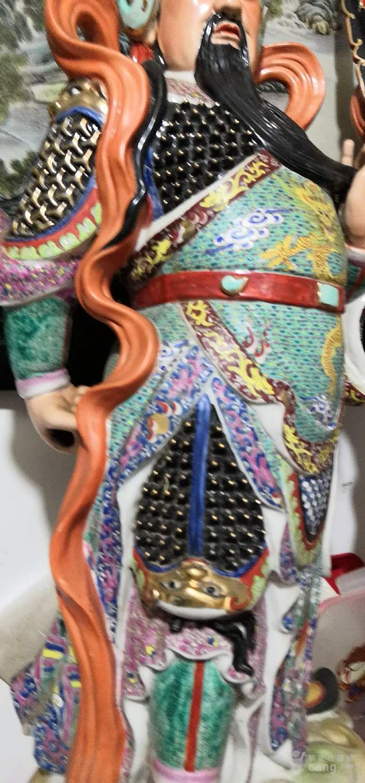 晚清雕塑粉彩门神一对见细图喜欢的询价交流高1米左右图6