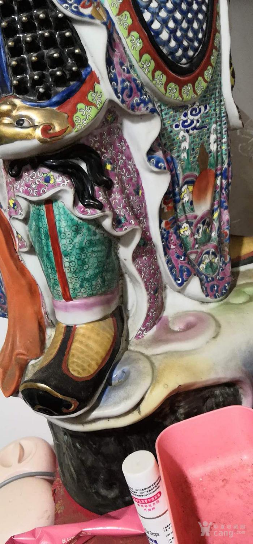 晚清雕塑粉彩门神一对见细图喜欢的询价交流高1米左右图7