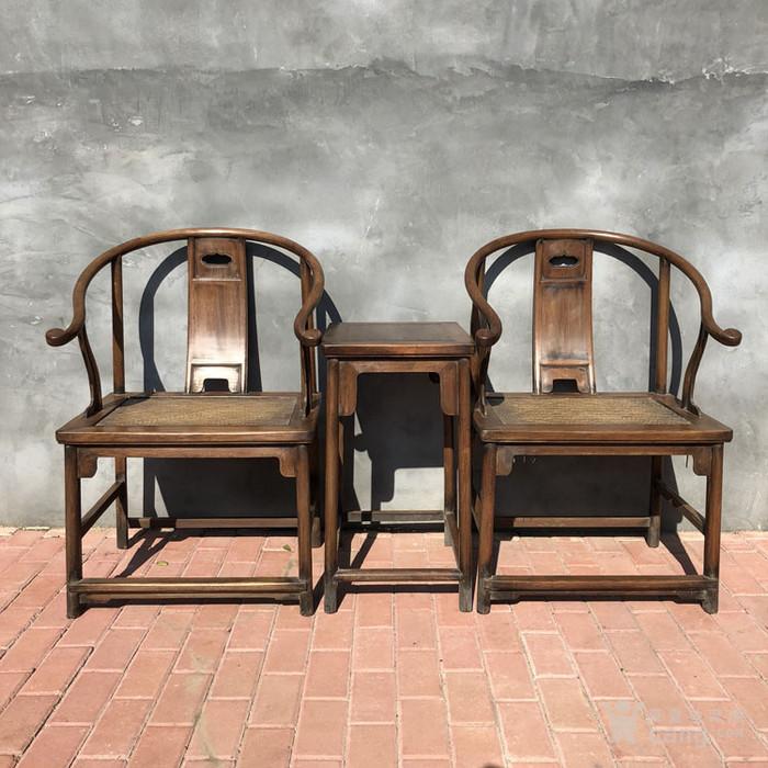 传世黄花梨老家具清代传世黄花梨藤子面圈椅家具明清家具图1