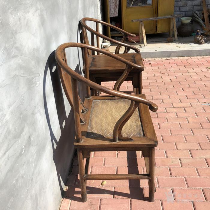传世黄花梨老家具清代传世黄花梨藤子面圈椅家具明清家具图3