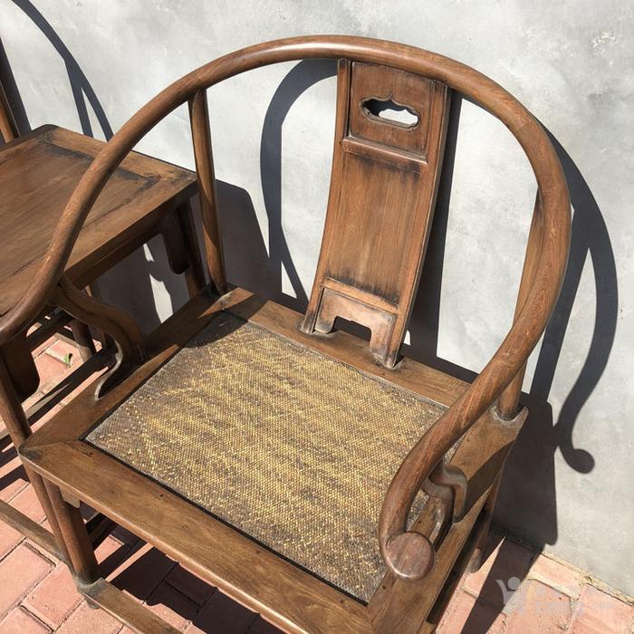 传世黄花梨老家具清代传世黄花梨藤子面圈椅家具明清家具图8