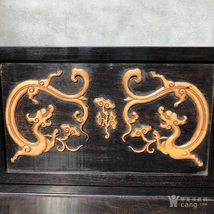 清代传世小叶紫檀镶嵌黄杨雕刻龙罗汉床围子床图8