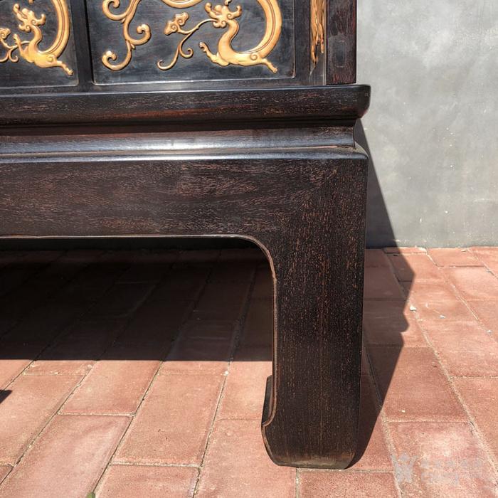 清代传世小叶紫檀镶嵌黄杨雕刻龙罗汉床围子床图12
