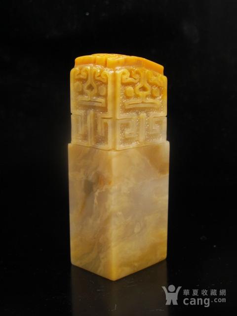 台湾回流 老矿玻璃质地巴林黄花五面龙纹大章图1
