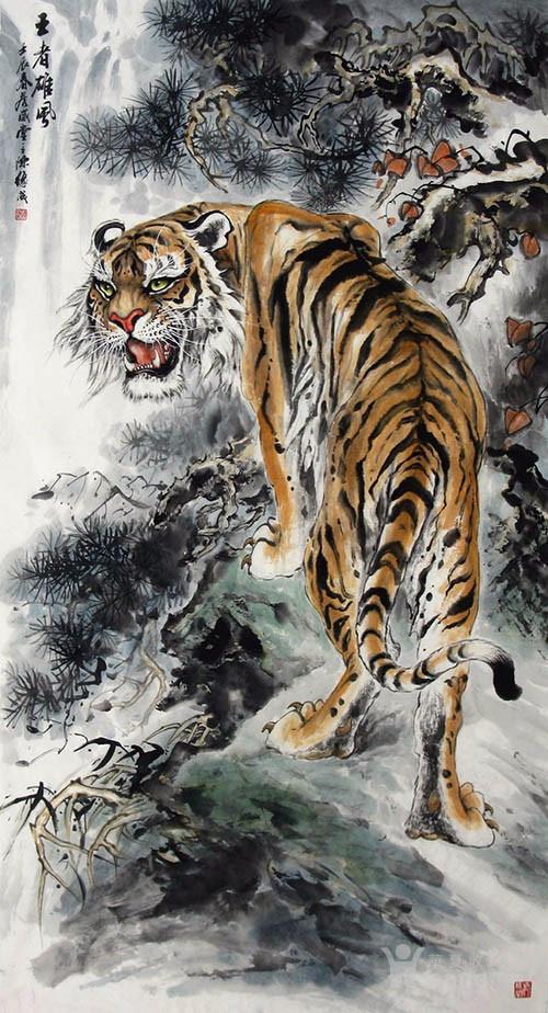 广西美协陈缘成  183 六尺走兽虎 单虎 横.竖幅图5