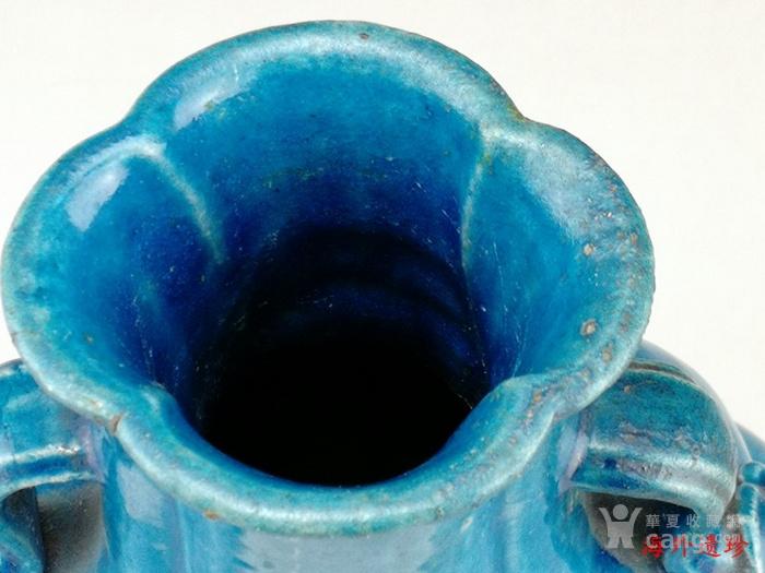 清中期 孔雀蓝釉如意云耳海棠式瓶图5