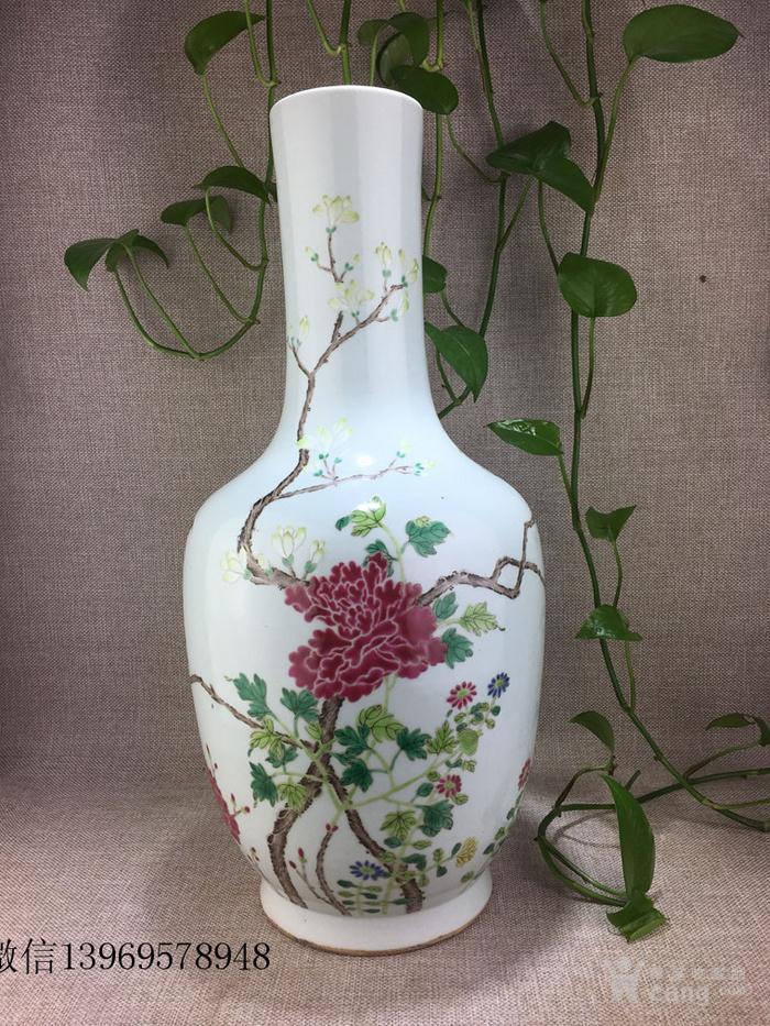 清代中期粉彩花卉瓶一件包老图1