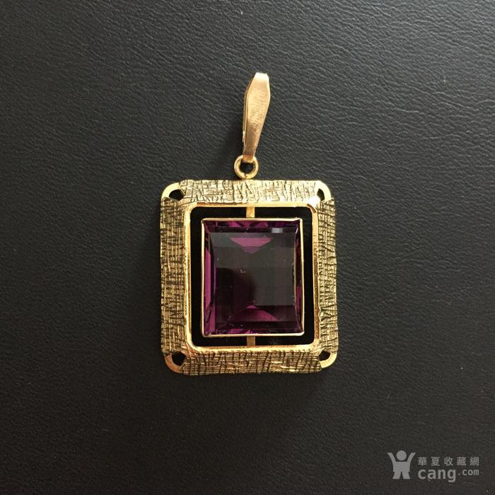 镶紫晶金吊坠图1
